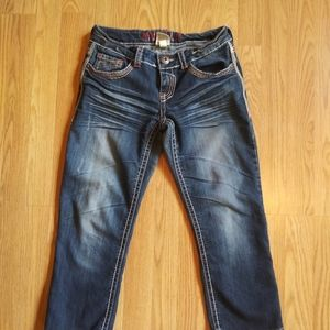 Hydraulic Embellished Denim Capri Jeans
